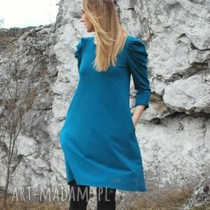 lili - sukienka z rękawem bufką, szmaragd, sukienka, dzianina, bufka
