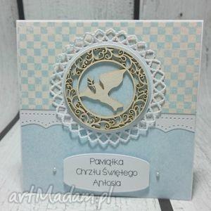 handmade kartki pamiątka chrztu świętego z gołąbkiem