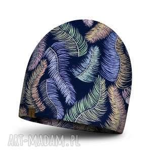 czapki podwójna czapka dziecięca w kolorowe liście, bawełniana jesienna