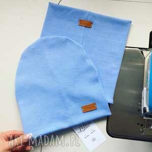 czapka i komin błękitny libou, komplet na glowe, zestaw dla dziecka, szycie
