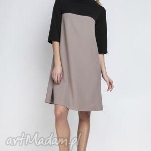 sukienki sukienka, suk121 beż, półgolf, kieszenie, casual, kontrafałda, kontrast
