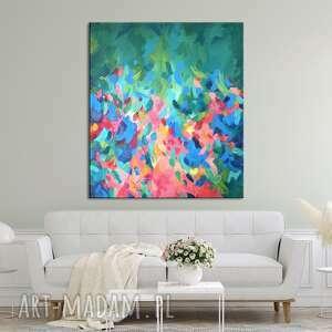 kolorowy abstrakcyjny obraz ręcznie malowany - colour bomb 70x80 cm