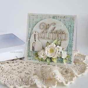 karta ślubna 467 - beżowe scrapbooking kartki, kartka
