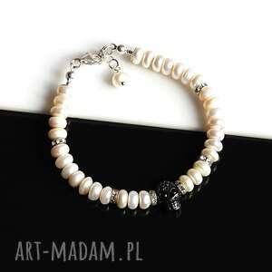 czaszka w perłach - bransoletka, perły, srebro, czaszka, biała