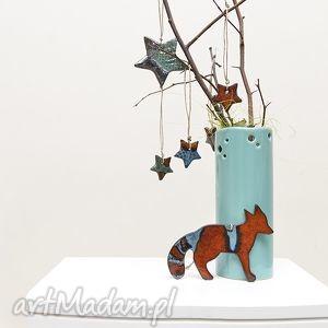 ręcznie robione pomysł na świąteczny prezent zawieszki ceramiczne, lisek gwiazdki