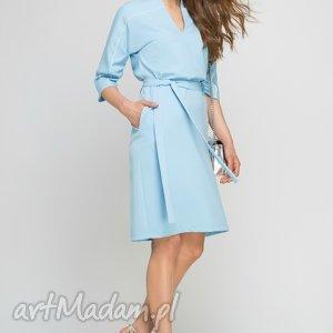 lanti urban fashion sukienka z lamówką, suk141 błękit, lamówka, błękitna, kieszenie