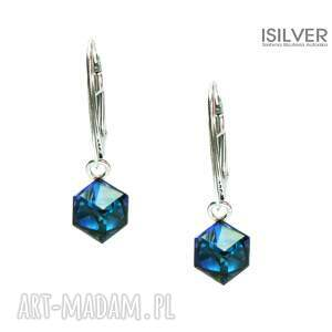 biżuteria swarovskie cube bermuda blue kolczyki, swarovski, cube, trendy, autorska