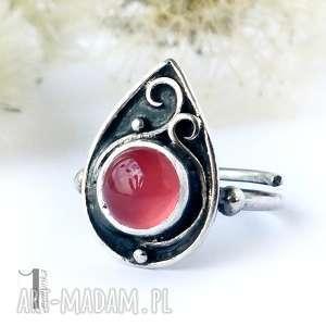 Sweet Berry - srebrny pierścionek z agatem brazylijskim, srebro, metaloplastyka, agat