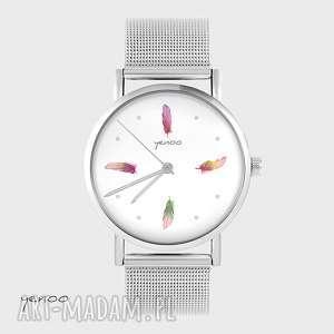 zegarek, bransoletka - kolorowe piórka metalowy, bransoletka, metalowy