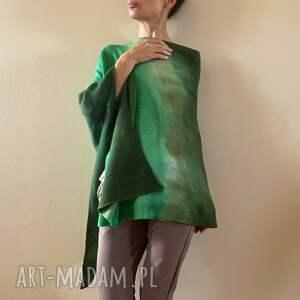 poncho wełniane ponczo zieleń oliwka, ponczo, sweter, tunika, narzutka, wełna