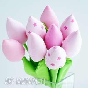 tulipany bukiet 9 sztuk bawełnianych kwiatów - róż