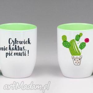 Kubek z łyżeczką Człowiek nie kaktus... , kubek, łyżczką, kaktus, ceramika