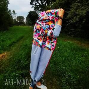 twarze długa bluza oversize z łączonych tkanin xl, szara bluza, dresowa