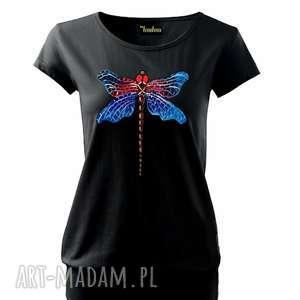 bluzki bawełniana bluzka z ważką ręcznie malowaną, bluzka, t-shirt, koszulka, bawełna