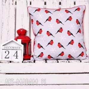 majunto, poduszka xmas red bird 40x40cm, święta, poduszka świąteczna, boże