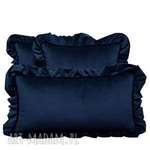 ręcznie robione poduszki dekoracyjne komplet 3 welur granat od majunto