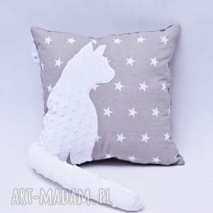 poduszki poduszka z kotem i ogonem, kot 3d biały w gwiazdach