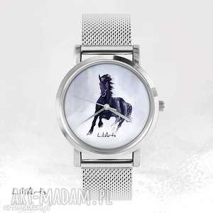 zegarek, bransoletka - czarny koń metalowy, bransoletka, metalowa