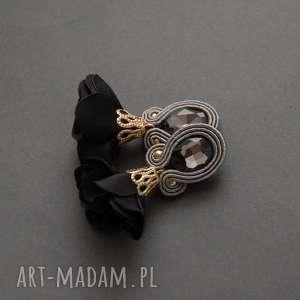 klipsy sutasz z kwiatkiem, sznurek, grafitowe, eleganckie, wiszące