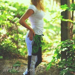 Blogerskie fajne spodnie niski krok z nadrukiem full print 3d