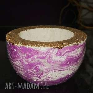 hand-made dekoracje fioletowa miseczka z betonu, świecznik na tealight, pojemnik