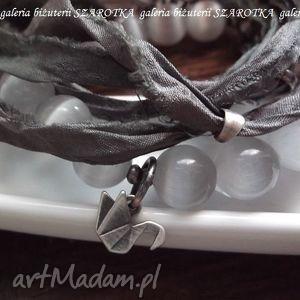 bransoletki mglisty poranek zestaw bransoletek z uleksytów, jedwabiu i srebra