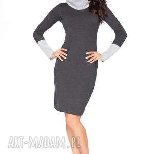 Dwukolorowa sukienka sportowa z kominem, C5, ciemnoszary jasnoszary,