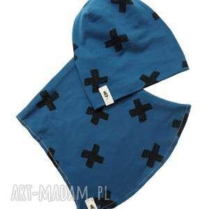Zestaw czapka & komin granatowy cudi kids i-komin, zestaw, zimowa czapka, bawełna, oeko tex,