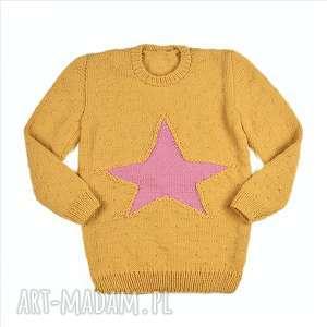 ręczne wykonanie sweter-tunika gwiazda merynos dziecięcy