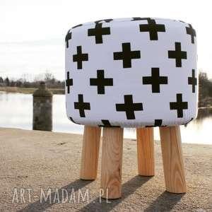 Pufa Czarne Krzyżyki - 36 cm, pufa, stołek, taboret, ryczka, siedzisko, hocker