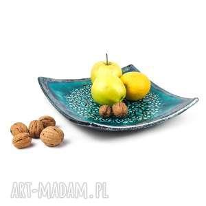 ceramika patera kwadrat z koronką i turkusowa, ceramika, talerz, patera, koronka