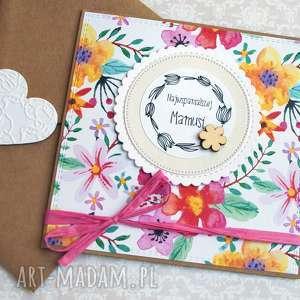 ręcznie zrobione kartki kartka na dzień matki: kolorowe kwiaty: dla mamy