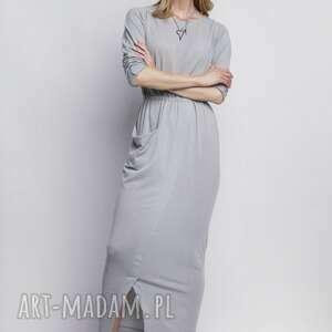 sukienka, suk111 szary, sukienki, casual, długa, kieszeń, szara, miejska ubrania