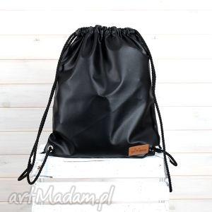 Plecak worek czarny, worek, plecak, wycieczka, pojemny, skórzany
