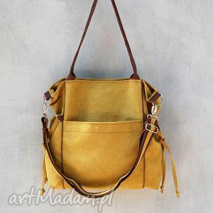handmade na ramię amber - duża torba - shopper - musztarda i brąz