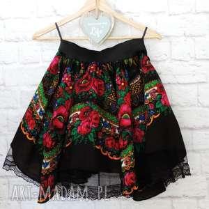 damska czarna spódnica góralska z chusty folk cleo, spódnica, folkowa