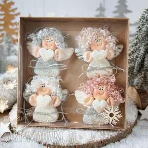 ręcznie robione święta upominki paczuszka uroczych aniołków, w eko pudełeczko z efektem