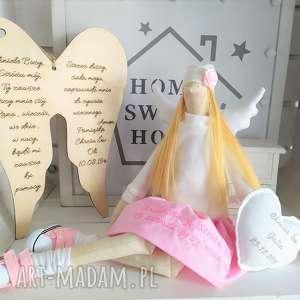 anioł lalka na chrzest święty, anioł, tilda, pamiątka, chrztu, świętego