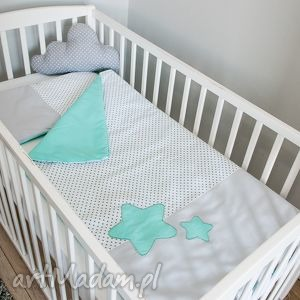 pokoik dziecka pościel do łóżeczka słodkie sny - mięta, gwiazdy, gwiazdki, poduszka