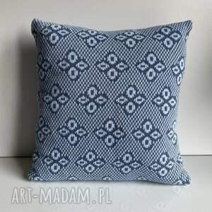 poduszki poszewka na poduszkę 40x40 cm bawełna żakard niebieskie kwiatki