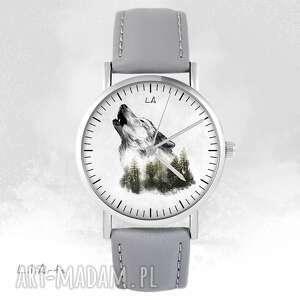 zegarki zegarek - wilk szary, skórzany, zegarek, bransoletka
