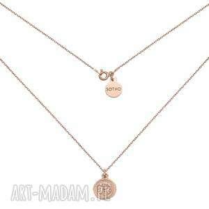 naszyjnik z monetą z różowego złota - elegancki, delikatny