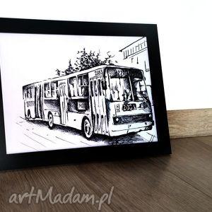 grafika na ścianę autobus warszawa ikarus, autobus