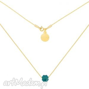 Złoty naszyjnik zdobiony szmaragdową koniczynką SWAROVSKI® CRYSTAL