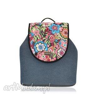plecak damski puro 786, puro, wymienne, klapki, jeansowy, kolorowe, kwiaty