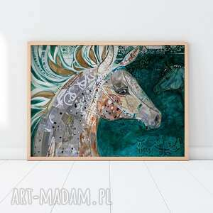 plakaty plakat 50x70 cm - koń w zieleni szmaragdowej, plakat, wydruk