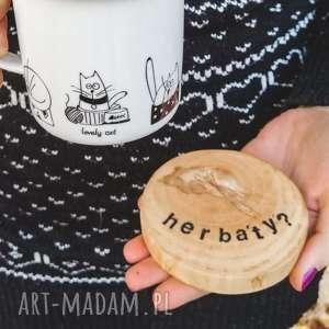 podkładki podstawki pod kubek dwustronne kawa vs herbata, drewniane