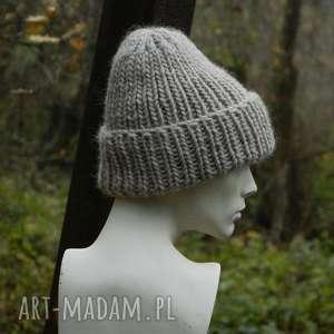 hand-made czapki 100% wool * unisex * beżowa wywijana czapa