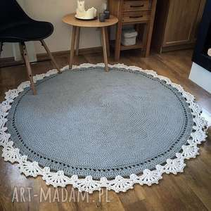 Okrągły dywan bawełniany ze SZNURKA 120 cm, skandynawski, manufaktura, podłoga