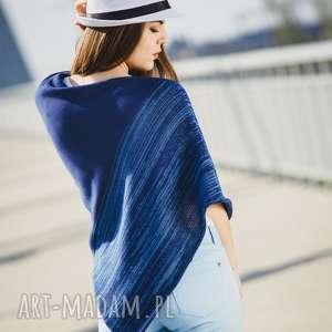 ponczo niebieski melanż, ponczo, bawełna